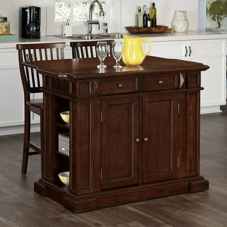 Home Styles Americana Cherry Kitchen Island and 2 Stools