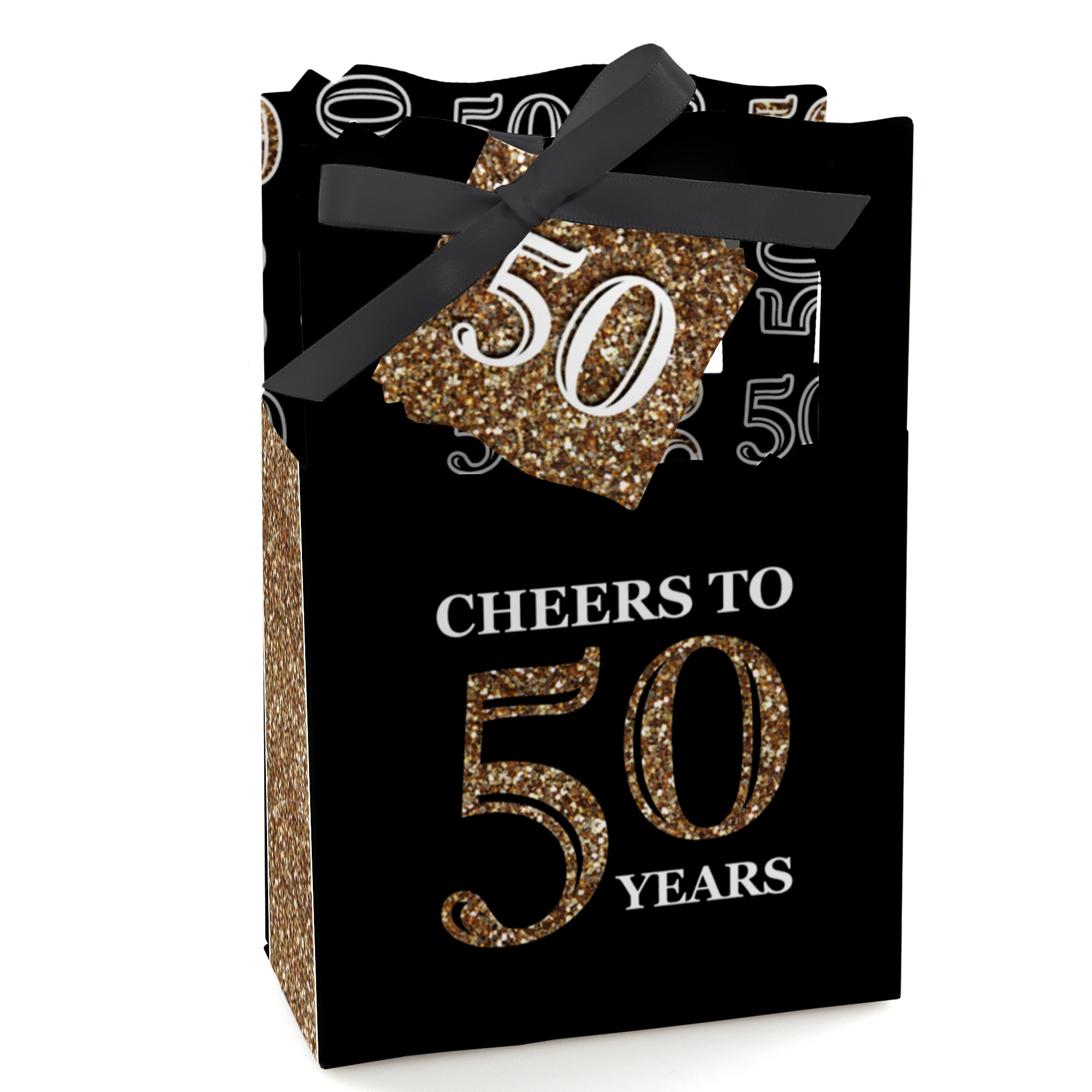 adult 50th birthday gold birthday party favor boxes set of 12