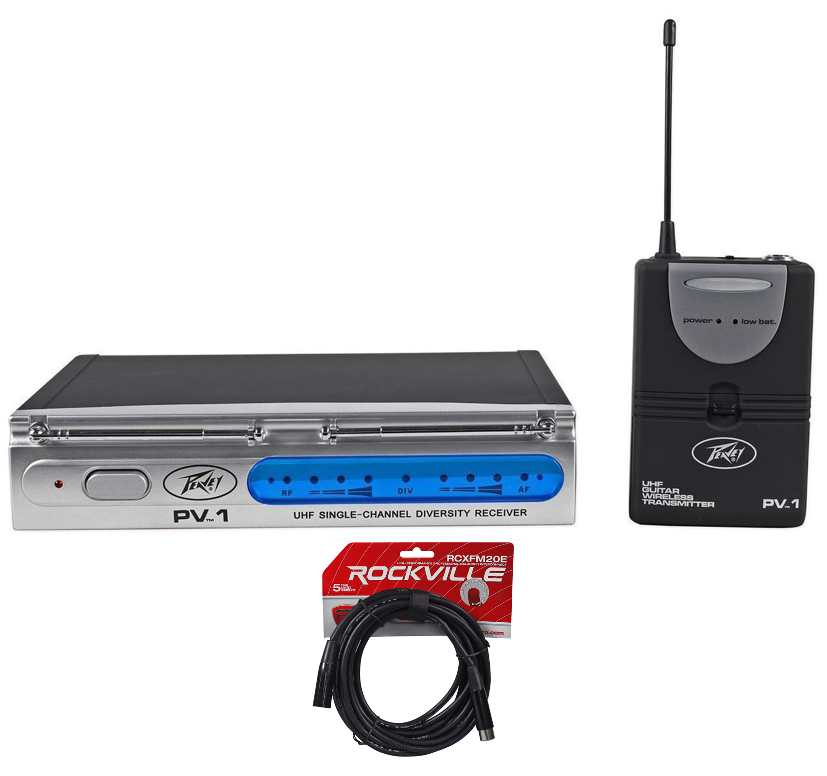 Peavey PV-1 U1 BG 921.30MHZ UHF Wireless Electric Guitar Pack System+XLR Cable