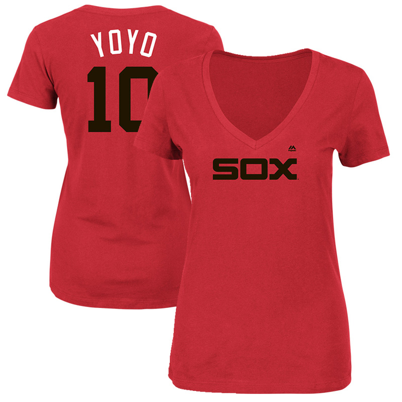 """Yoan Moncada """"YoYo"""" Chicago White Sox Majestic Women's 2017 Players Weekend Name & Number T-Shirt - Red"""
