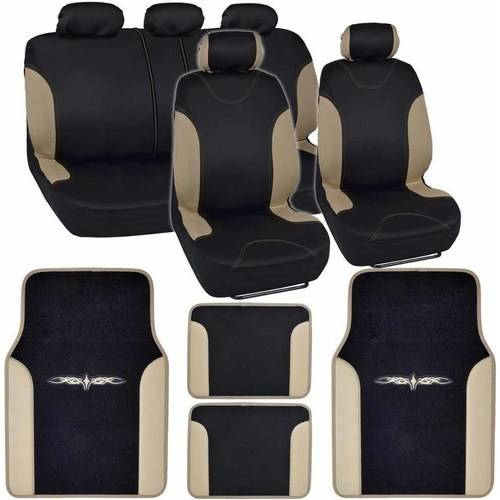 BDK Sleek and Style Car Seat Covers with 4 Pieces Floor Mats, Split Bench, Easy Installation, 3 Colors
