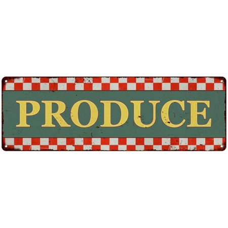 Old Style Metal - Produce Checkerboard Country Style Vintage Metal Sign 6x18 Old Advertising Man Cave Game Room M6180695
