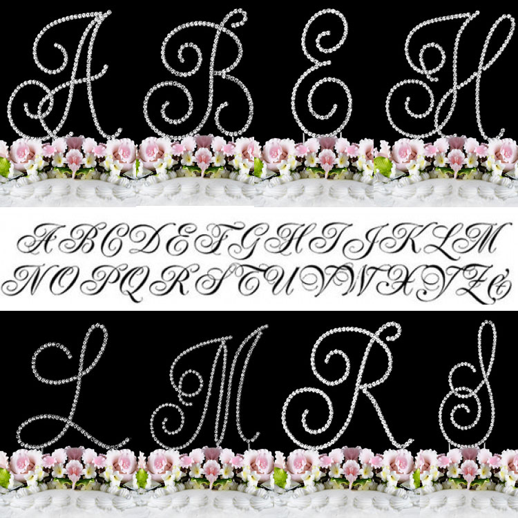 Crystal Cake Topper Swirl Script Silver Monogram Cake Top...