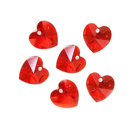 Swarovski Crystal, #6228 Heart Pendants 10mm, 6 Pieces, Light Siam