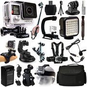 GoPro HERO4 Hero 4 Silver Edition Action Camera Camcorder + Selfie Stick + Stabilizer + LED Video Light + Microphone + Chest Strap + Hand/Wrist Glove Strap + Head/Helemet Mount & Case (CHDHY-401)