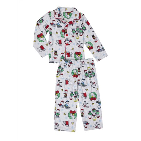 snoopy friends christmas button up coat style classic pajamas 2pc set toddler - Snoopy Christmas Pajamas