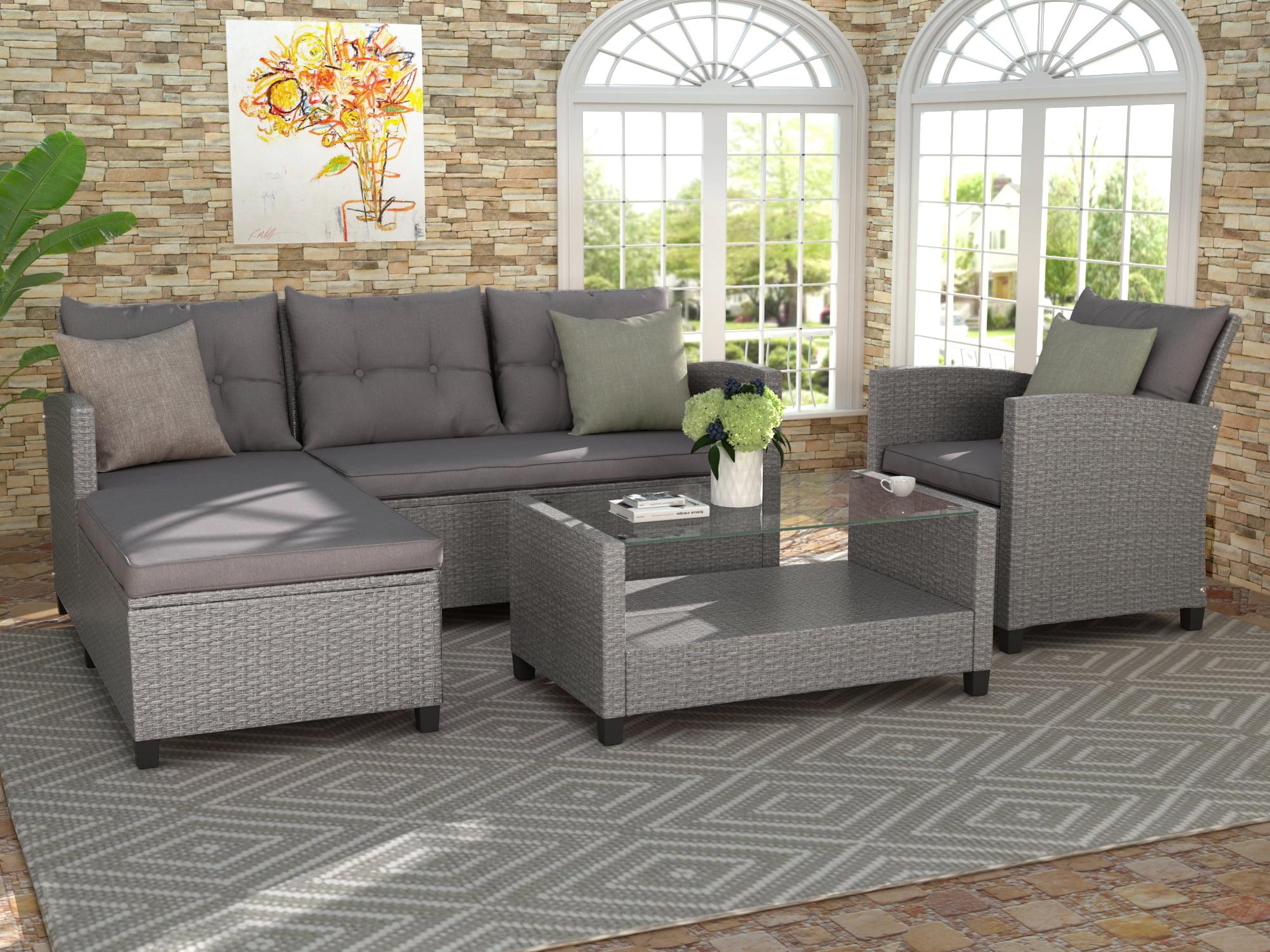 Clearance! Rattan Patio Sofa Set, 4 Pieces Outdoor ...