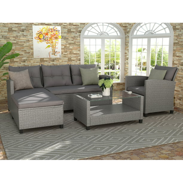 Clearance! Rattan Patio Sofa Set, 4 Pieces Outdoor Sectional Furniture Set, All-Weather PE Rattan Wicker Patio Conversation Set, Cushioned Sofa Set with Glass Table for Garden Poolside Deck, B993