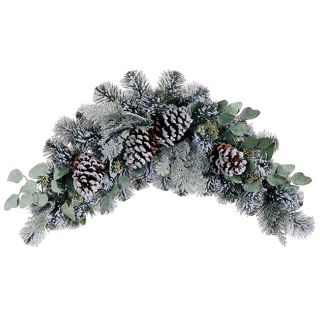 NorthLight 32 in. Flocked Pine Eucalyptus And Pine Cone A...