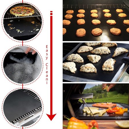 4pcs BBQ Extra Large Grill Mat Set,60*40cm,Non-stick Grill Mat with Food Grade Red Silicone Brushes and 9-inch Food Clips - image 3 de 9