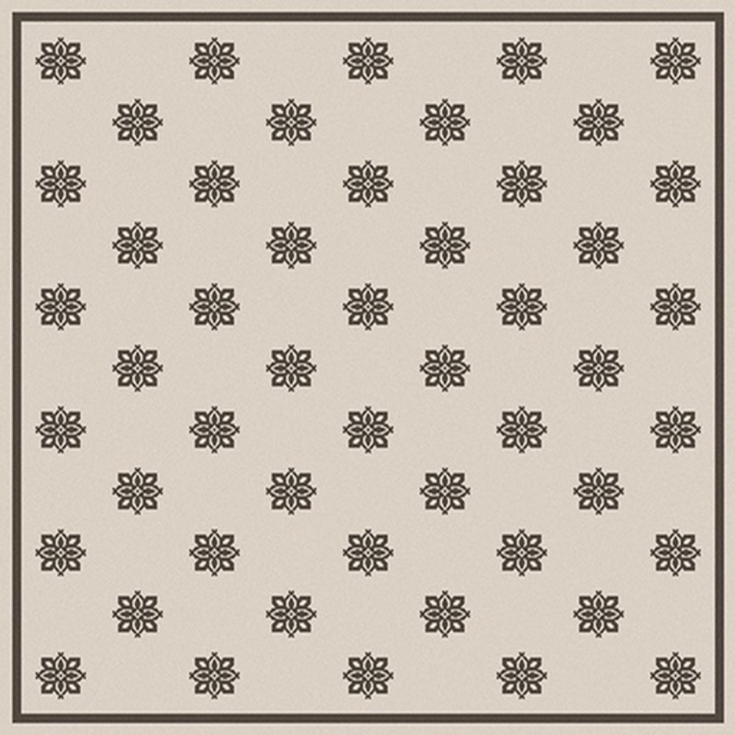 "7'3"" x 7'3"" Summer Snowflake Beige and Black Shed-Free Square Area Throw Rug"