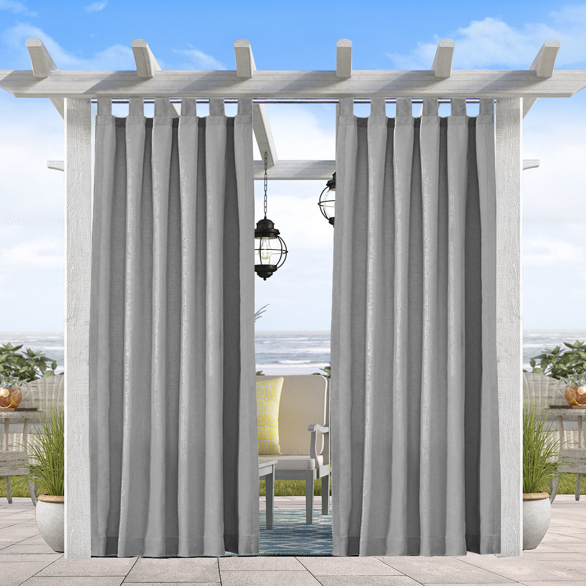 Pro Space 2 Panels Outdoor Curtains Tab Top 4 Long Window Curtain For Pergola Patio Balcony 50 W X 120 L Gray Walmart Com Walmart Com