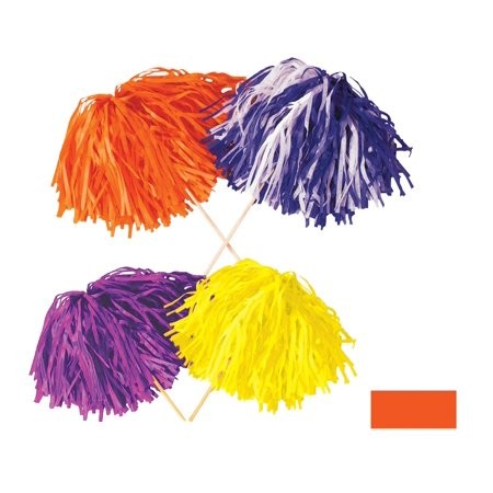 Club Pack of 144 Solid Orange Pep Rally Tissue Shaker Pom Pom Accessories (Halloween Pep Rally Themes)