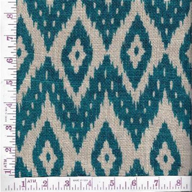 Textile Creations BLV-137 Burlap Printed, Printed Flame Stitch Ikat Teal On Natural