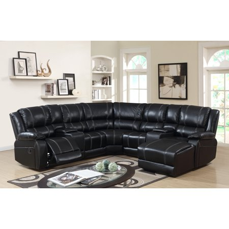 7pc Luxury Bonded Leather Reclining Sectional Sofa Set Black Color