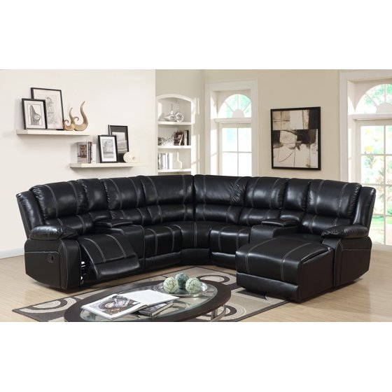 7PC Luxury Bonded Leather Reclining Sectional Sofa Set: Black Color