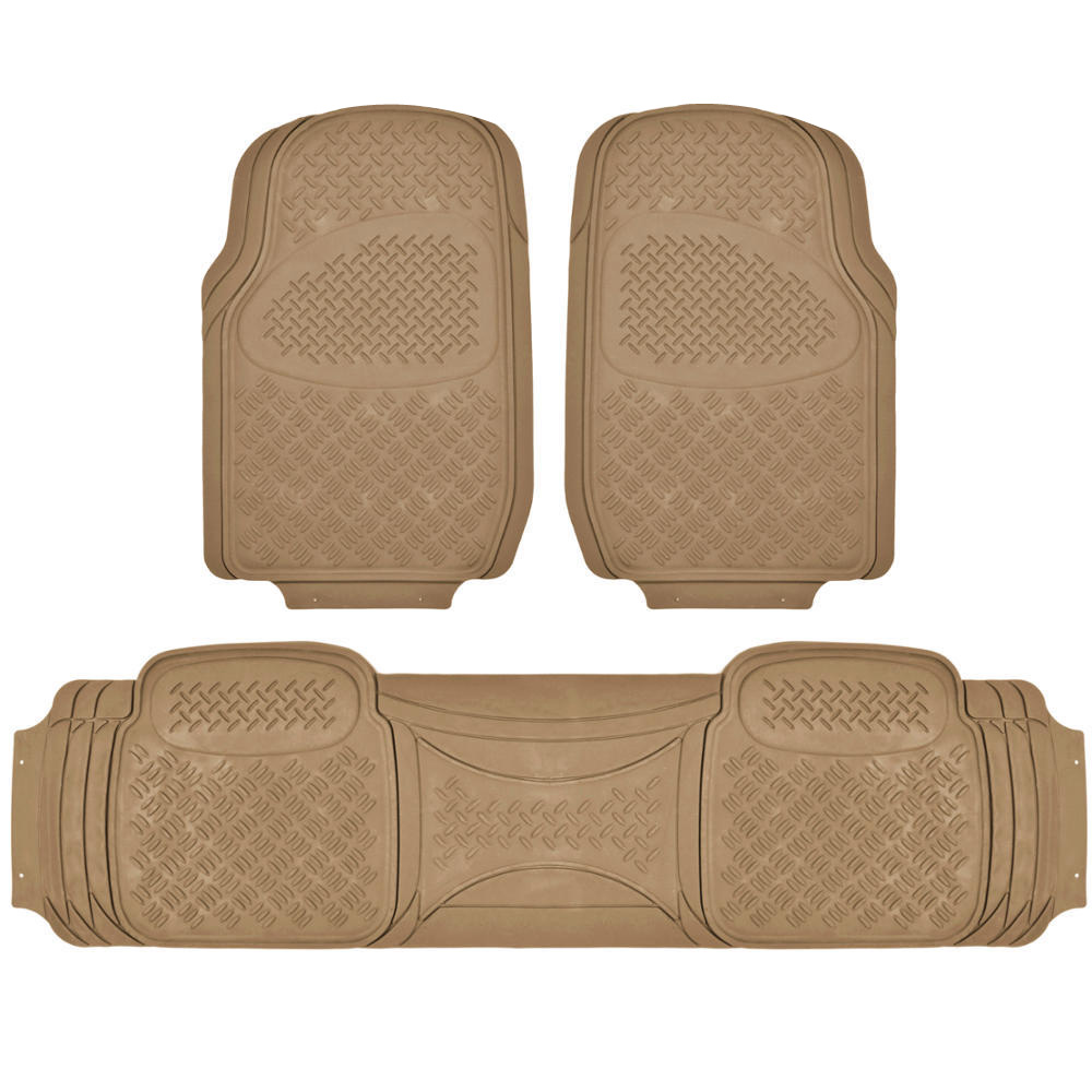 BDK Diamond All-Weather Rubber Floor Mats for Car, SUV, Van and Truck, Trimmable, Heavy Duty