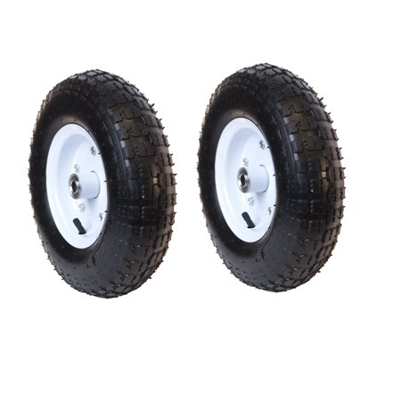 ALEKO Turf Pneumatic Replacement Wheel for Wheelbarrow - 13 Inch - Black Tire with White Rim - Set of 2