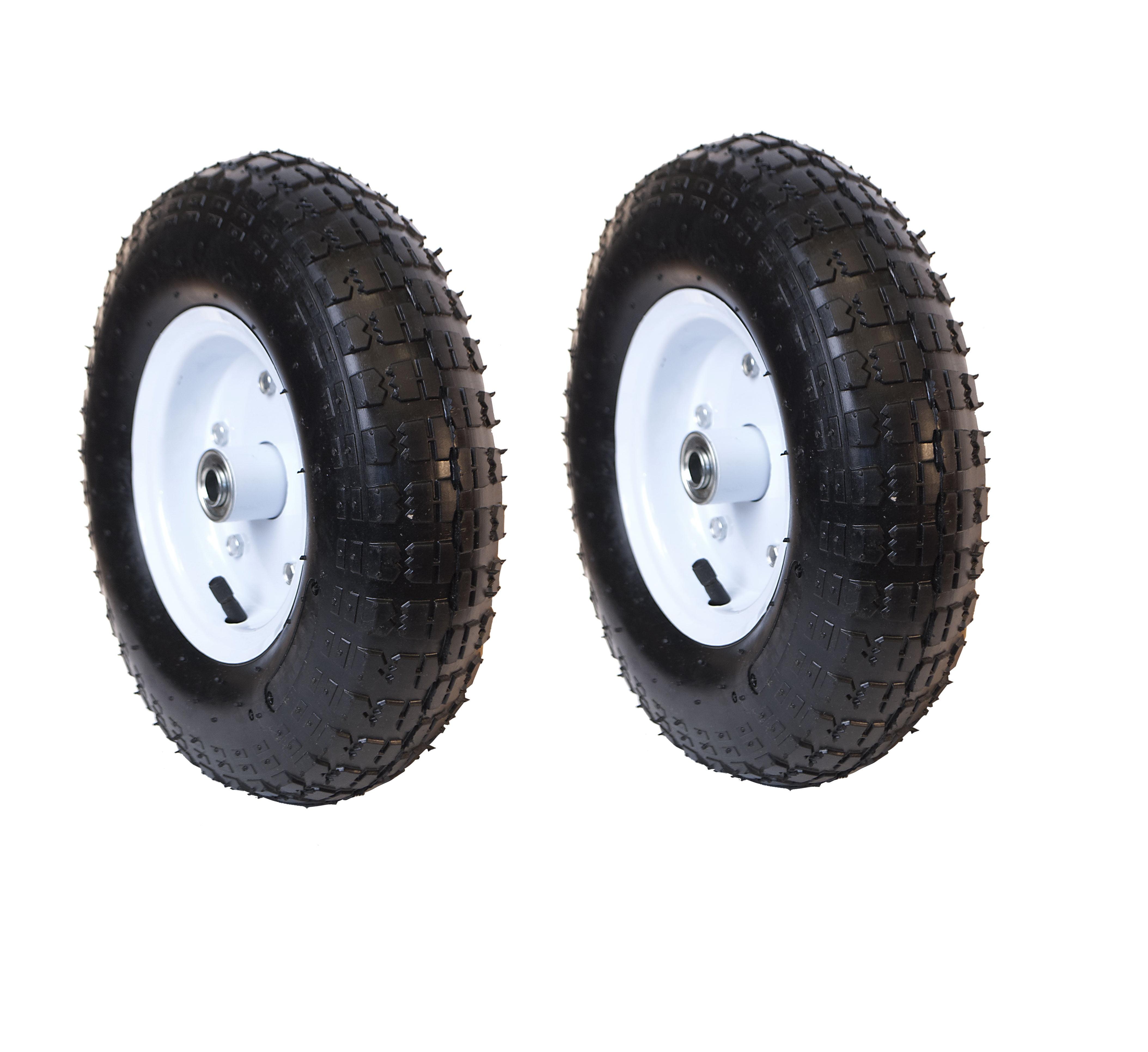 ALEKO Turf Pneumatic Replacement Wheel for Wheelbarrow - 13 Inch - Black Tire with White Rim - Set of 2