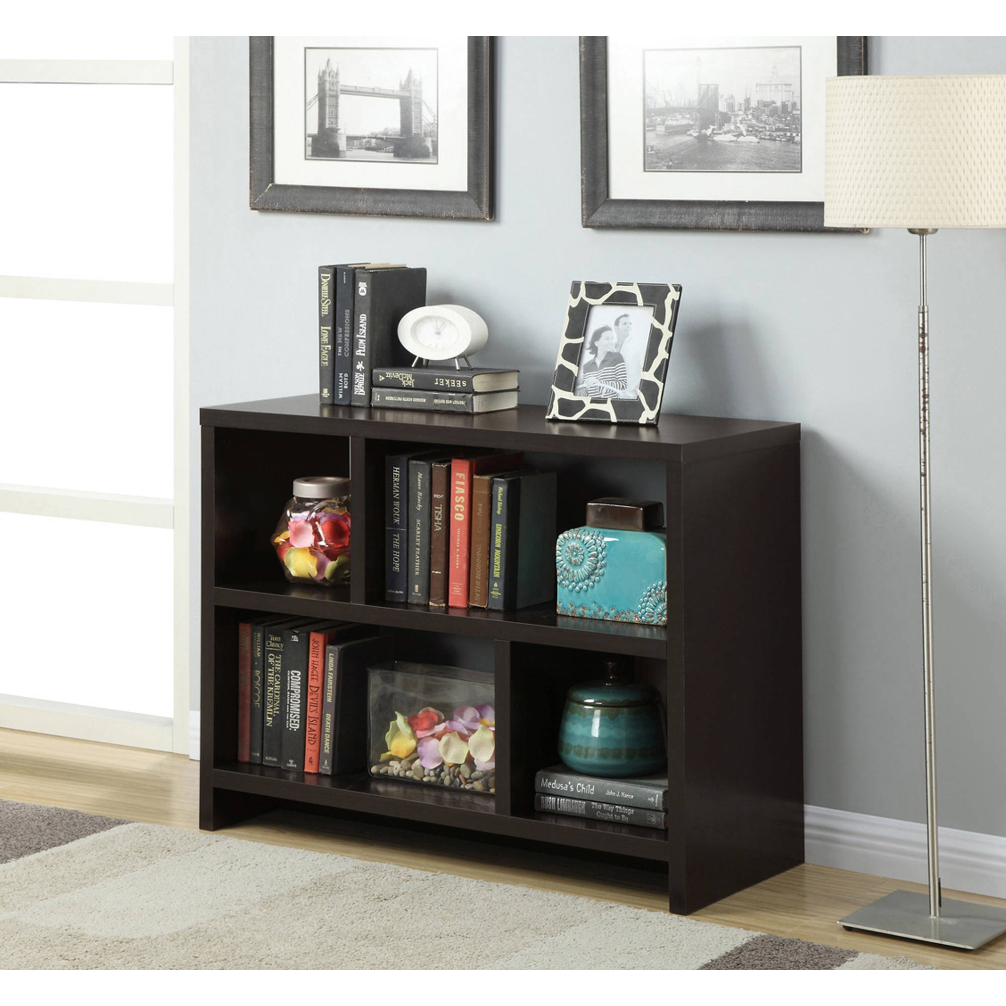 convenience concepts northfield console table with shelves multiple colors