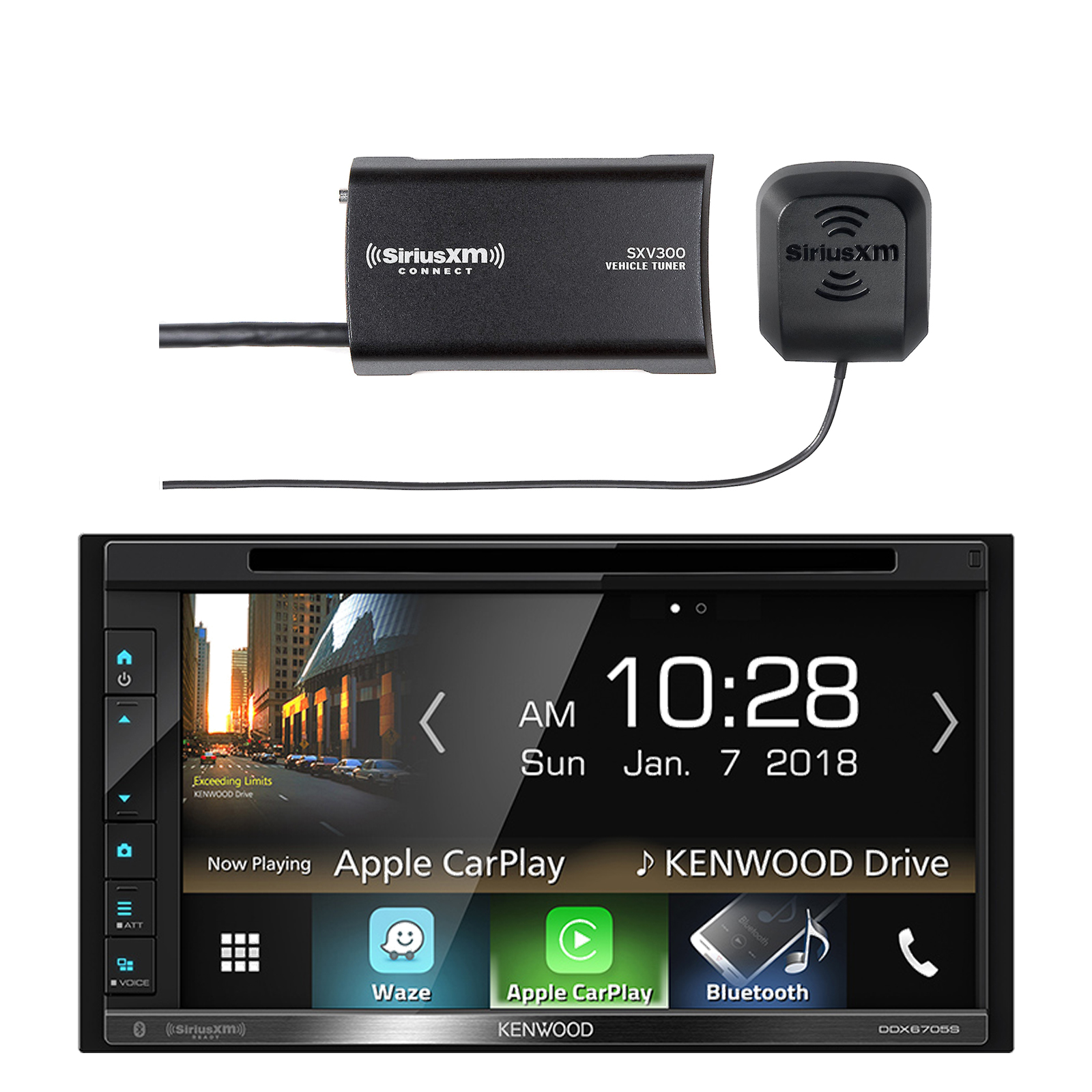 "Kenwood Double DIN 6.8"" Touchscreen Bluetooth HD AM/FM Radio Receiver, SiriusXM SXV300v1 Satellite Radio Connect Vehicle Tuner Kit for Satellite Radio"