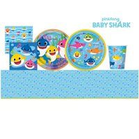 Baby Shark Party Supplies Set- Serves 8- Includes Dinner Plates, Dessert Plates, Lunch Napkins, Beverage Napkins, 1 Table Cover, Cups