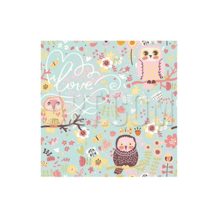 Bright Spring Seamless Pattern in Pastel Colors. Cute Owls on Branches in Butterflies and Flowers I Print Wall Art By smilewithjul ()