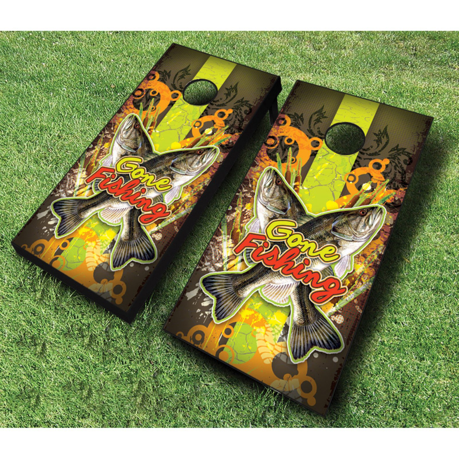 AJJ Cornhole Gone Fishing Cornhole Set with Bags by