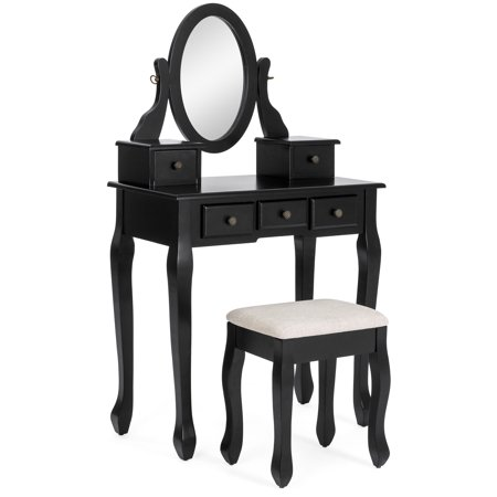 Best Choice Products Makeup Cosmetic Beauty Vanity Dressing Table Set w/ Oval Mirror, Stool Seat, 5 Drawers -