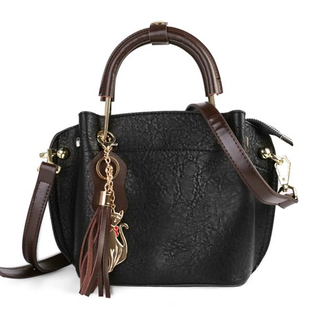 Mini Clova Women's Genuine Leather Satchel Purse with Adjustable Shoulder Strap and Golden Accents