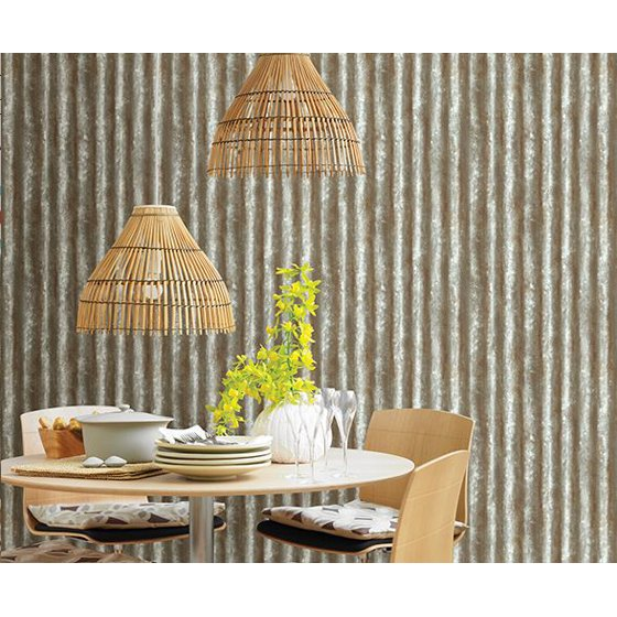 Brewster 2701 22336 Corrugated Metal Silver Texture Wallpaper