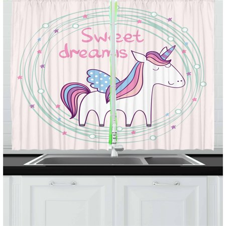 Dotted Star (Sweet Dreams Curtains 2 Panels Set, Cute Magical Unicorn with Hand Drawn Circles Dots and Stars Nursery Theme, Window Drapes for Living Room Bedroom, 55W X 39L Inches, Multicolor, by)