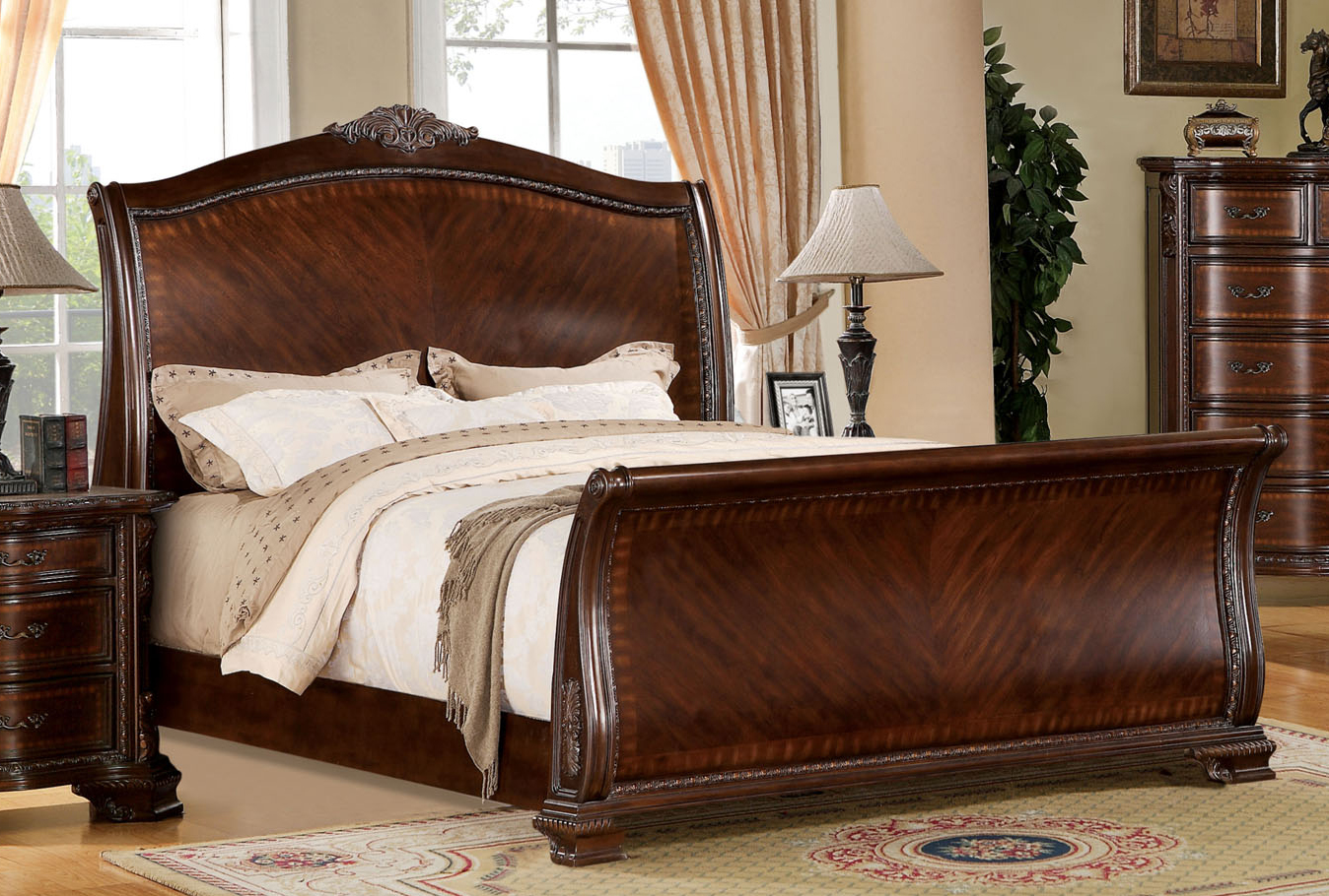 Furniture Of America Penbroke Traditional Brown Cherry Tone Cal King Sleigh Bed by Furniture of America