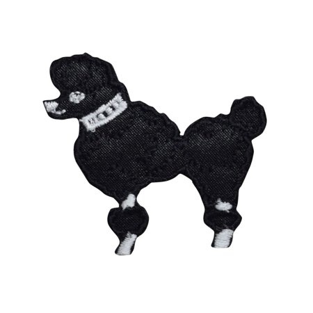 XS Black Poodle - Facing Left - Iron on Applique/Embroidered