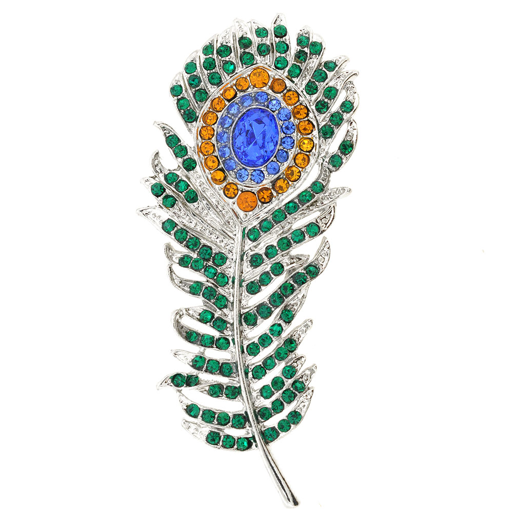 Green Eye Peacock Feather Crystal Pin Brooch by