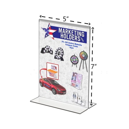 6 Pack Stand-Up Double-Sided Sign Holder, Plastic, 5 x 7, Bottom Load By Marketing Holders Ship from US