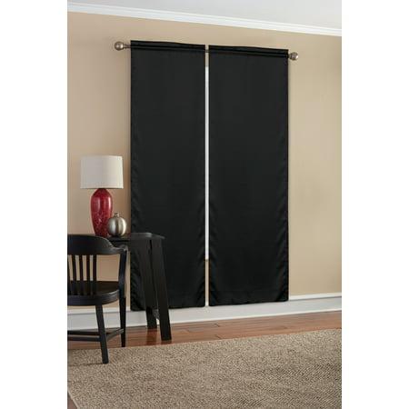 Mainstays Solid Color Room Darkening Rod Pocket Curtain Panel Pair, Set of 2, Black, 30 x 84