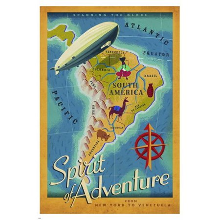 Spirit Of Adventure Travel Poster 24X36 Map Blimp Exiting South America](Fun Adventure Maps)