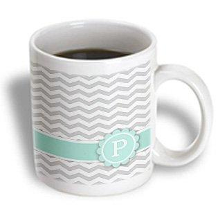 3dRose Letter P monogrammed on grey and white chevron with mint - gray zigzags - personal initial zig zags, Ceramic Mug, 11-ounce