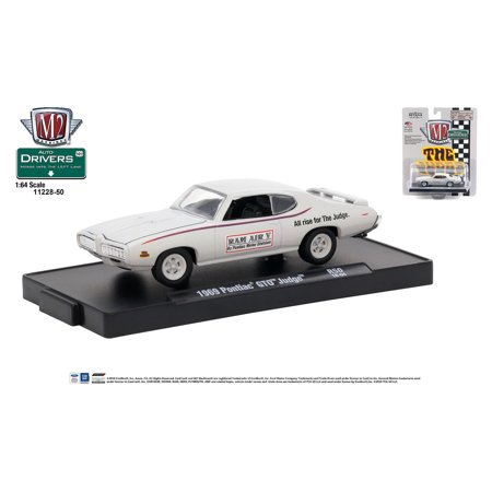 M2 Machines Auto-Drivers 1:64 R50 1969 Pontiac GTO Judge Silver w/Judge -