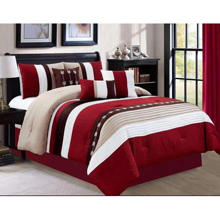 - 7 Piece Oversize Stripe Luxury Micofiber Bed in Bag Microfiber Comforter Set, Burgundy, Queen