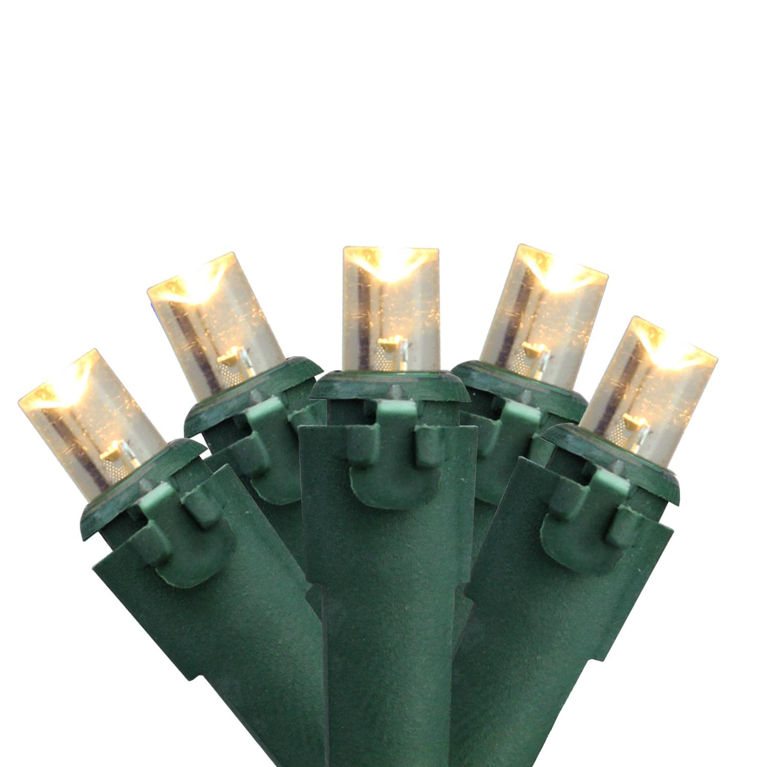 Set of 50 Warm White LED Wide Angle Christmas Lights - Green Wire