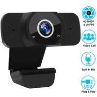 Webcam 1080P with Microphone, USB PC Webcam Full HD Web Cameras for Computers Desktop & Laptop Webcam, Plug and Play, AutoFocus Web Camera for Video Calling, Conferencing, Recording, Gaming
