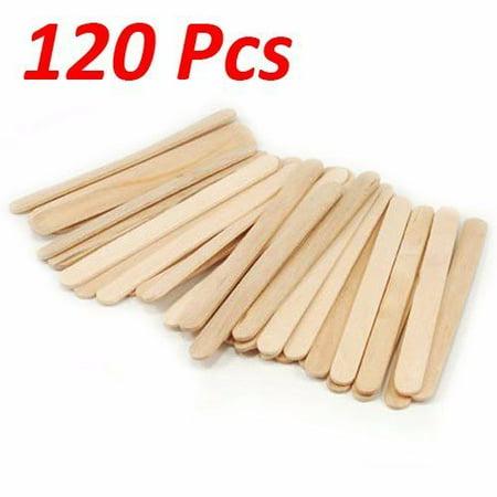 Mini Popsicle Sticks (Wideskall® Flat Natural Wood Craft Sticks Popsicle Sticks Bulk 4-1/2