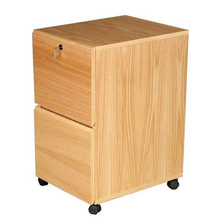 Rush Furniture Modular Real Oak Wood Veneer 2 Drawer Mobile File Cabinet