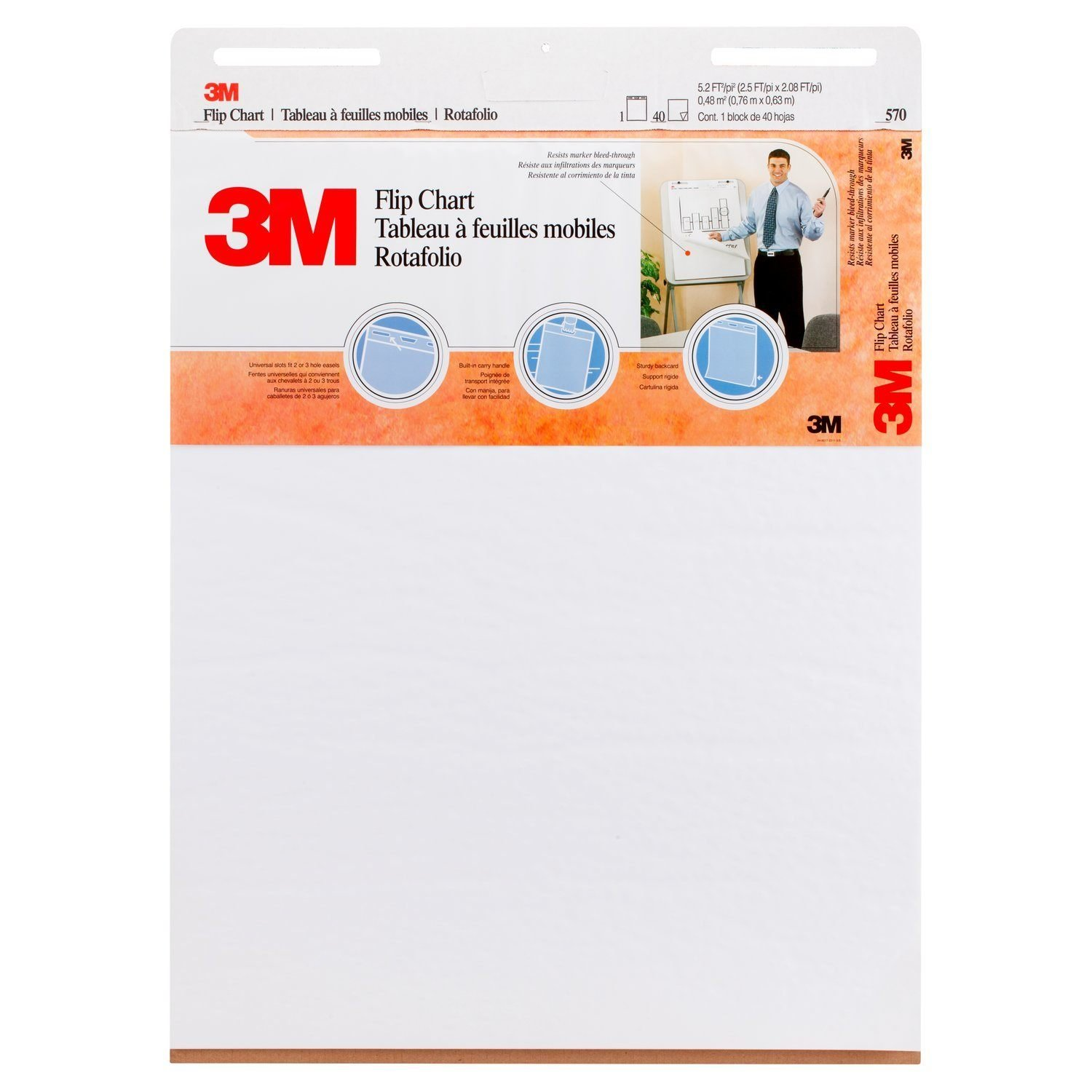 3M Easel Pad Flip Chart, 25 x 30-Inches, 40-Sheets/Pad