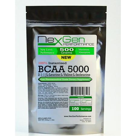 BCAA en poudre - 500g (1.1lb) - 100% Acide aminé L-valine L-leucine L-isoleucine