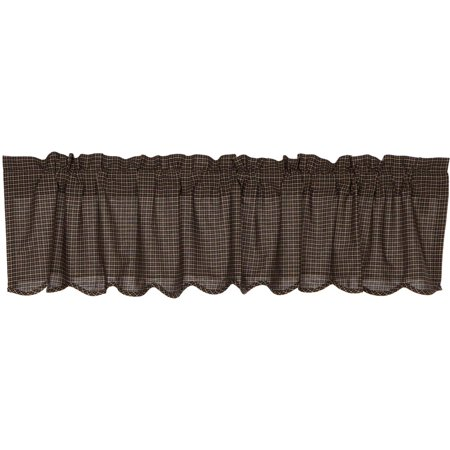 Country Black Primitive Kitchen Curtains Prim Grove Plaid Rod Pocket Cotton 20x72 Valance