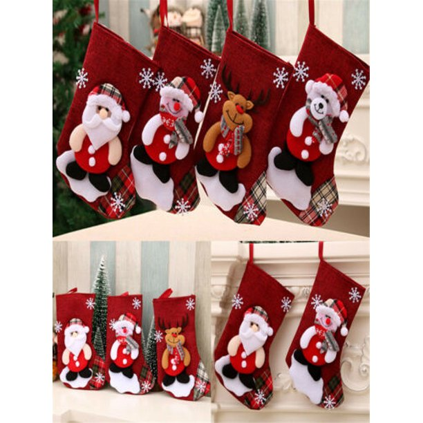 Christmas Stocking Mini Sock Santa Claus Candy Bag Xmas Tree Hanging Decor Gift Walmart Com Walmart Com