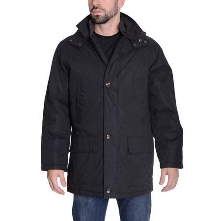 Weatherproof Brand Mens Faux-Fur-Collar Layered Parka Jacket Black-XXL ()